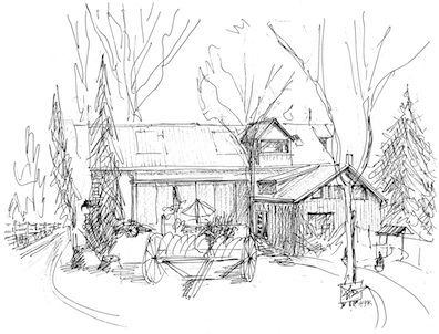 Drawing of the Morning Star Center on Creek Road (by Joris Rosse)