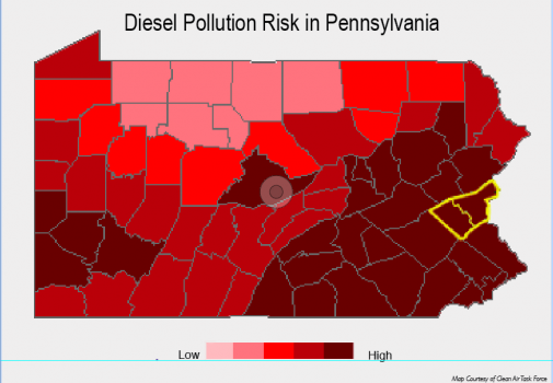 Map showing high risk from Diesel pollution in PA