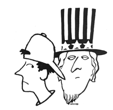 Cartoon of unhappy student & Uncle Sam